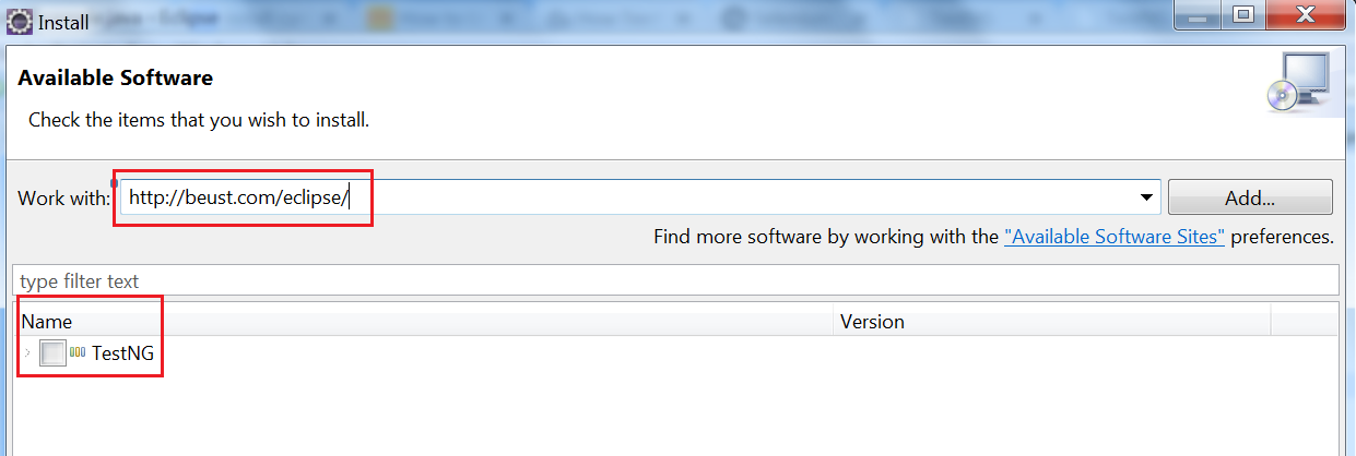 Eclipse TestNG Install