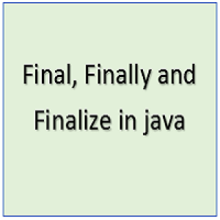 Final Finally and finalize in java
