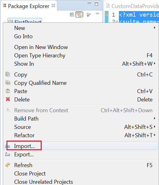 Import in eclipse