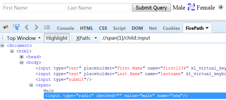 child function in xpath