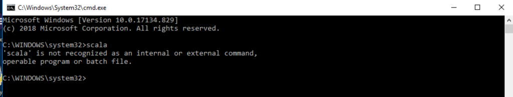 Scala is not recognised as an internal or external command